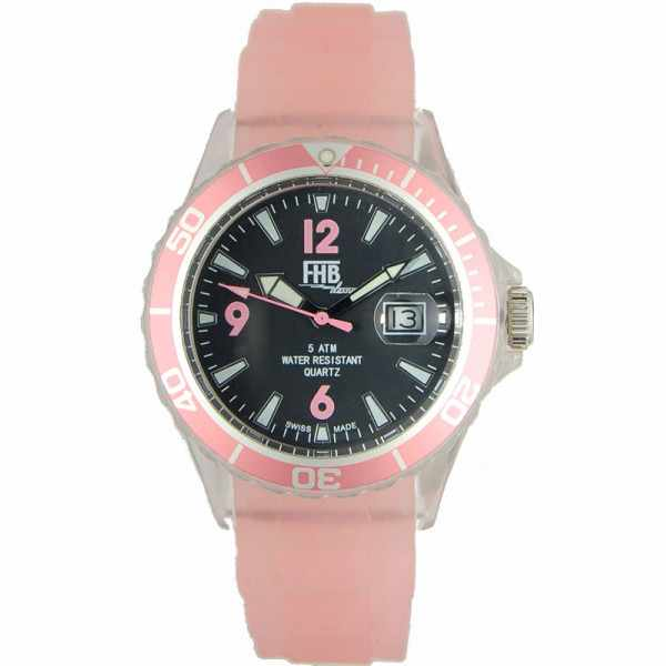 FHB Opaque Fun Watch, Quartz Uhr mit Silikonband, rosa_2677