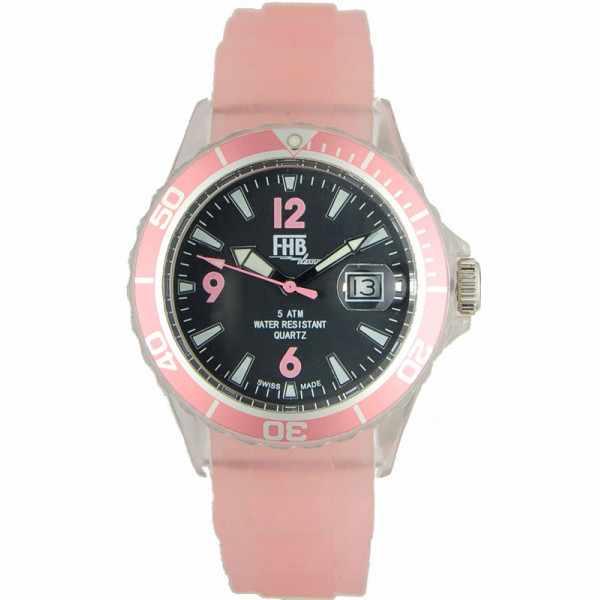 FHB, Opaque Fun Watch, Quartz Uhr mit Silikonband, rosa_2677