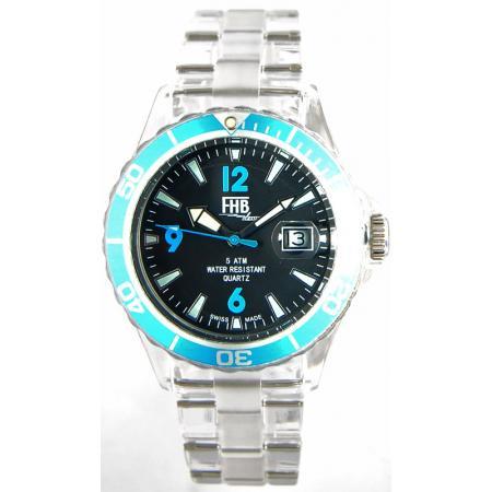 FHB, Opaque Fun Watch, Quartz Uhr mit Gliederarmband schwarz/türkis