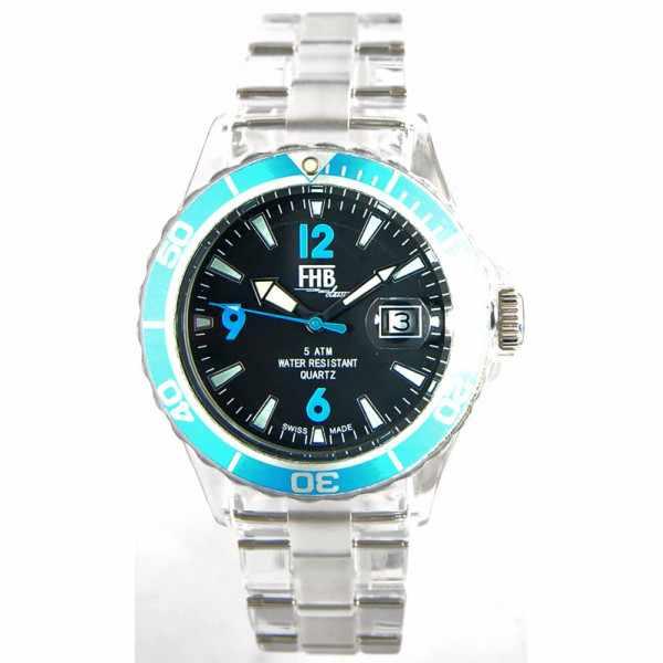 FHB Opaque Fun Watch, Quartz Uhr mit Gliederarmband schwarz/türkis_2679