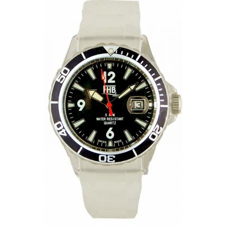 FHB, Opaque Fun Watch, Quartz Uhr mit Silikonband, weiss