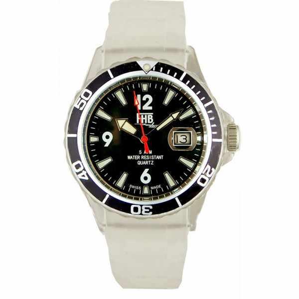FHB Opaque Fun Watch, Quartz Uhr mit Silikonband, weiss_2680