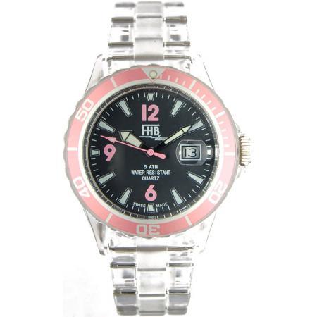 FHB, Opaque Fun Watch, Quartz Uhr mit Gliederarmband schwarz/rosa