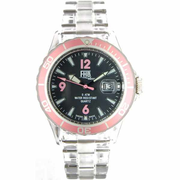 FHB, Opaque Fun Watch, Quartz Uhr mit Gliederarmband schwarz/rosa_2681