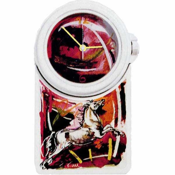LE CLIP Wanduhr Mega, Rolf Knie, Stallion Pferd weiss_2853