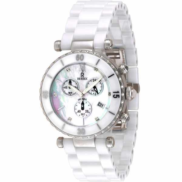 RENDEX, Ceramic, XL Lady Chrono, Quartz, Keramikband weiss_2982