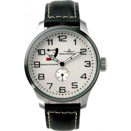 ZENO-WATCH BASEL, Retro Oversized, XL Handaufzuguhr, Gangreserve weiss