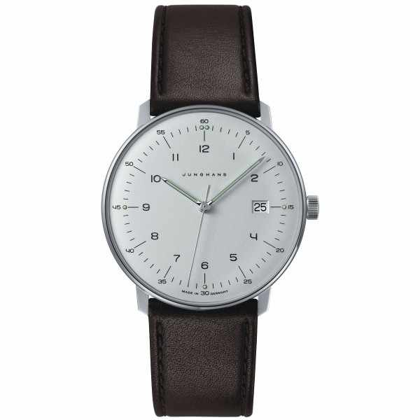 Junghans MAX BILL 38 Quartz, Numbers weiss, Datum, Lederband_340
