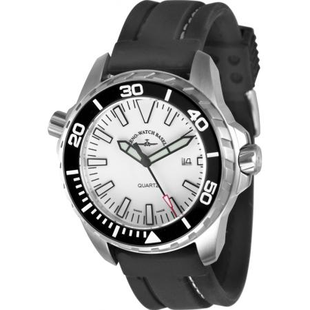 ZENO-WATCH BASEL, Pro Diver II, XL Quartz Taucheruhr weiss