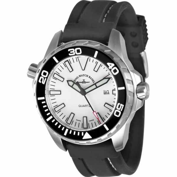 ZENO-WATCH BASEL, Pro Diver II, XL Quartz Taucheruhr weiss_3457