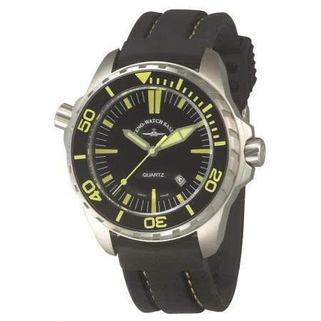 ZENO-WATCH BASEL, Pro Diver II, XL Quartz Taucheruhr schwarz-gelb