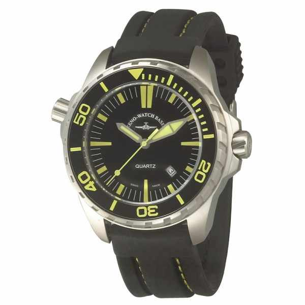 ZENO-WATCH BASEL, Pro Diver II, XL Quartz Taucheruhr schwarz-gelb_3543