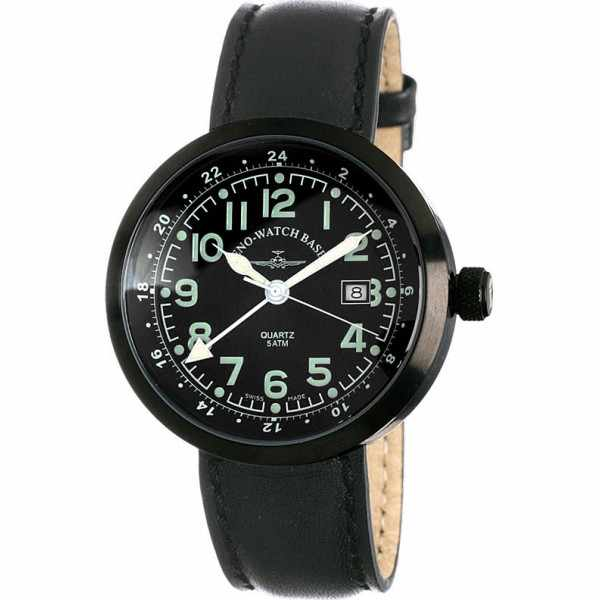 ZENO-WATCH BASEL, Pilot Rondo Quartz Fliegeruhr, GMT schwarz_3561