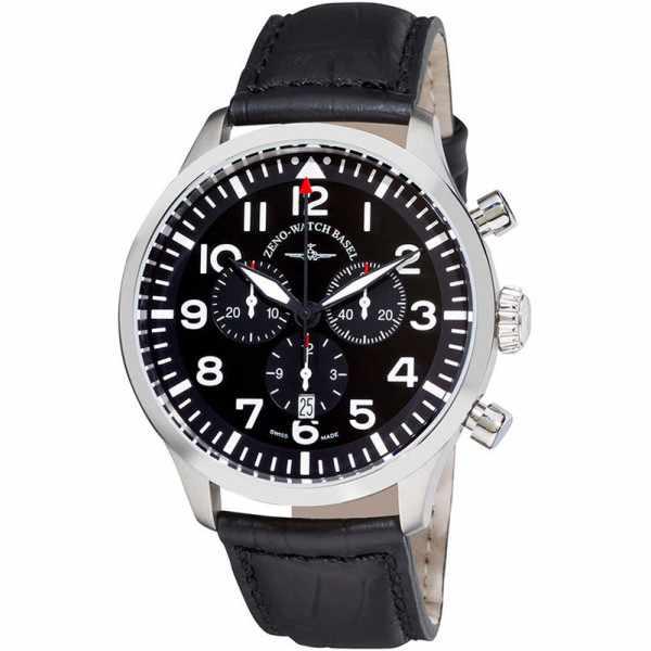 ZENO-WATCH BASEL, Pilot Navigator, Quartz Flieger Chrono, schwarz_3654