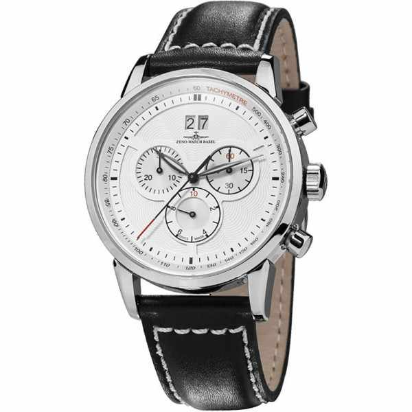 ZENO-WATCH BASEL, Retro Magellano Q Chrono Grossdatum, weiss_3684