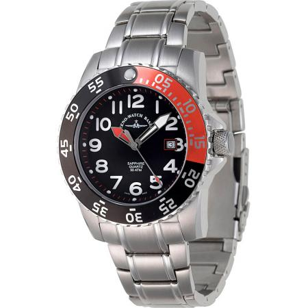 ZENO-WATCH BASEL, Airplane Diver 2, Quartz Sportuhr 500m, rot