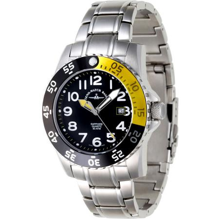 ZENO-WATCH BASEL, Airplane Diver 2, Quartz Sportuhr 500m, gelb