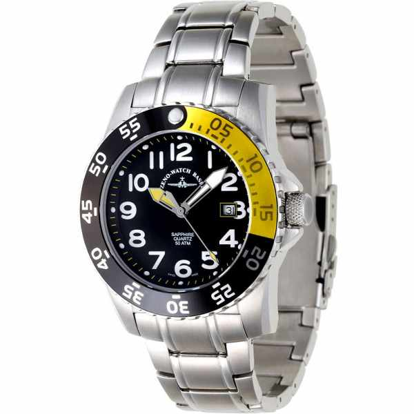 ZENO-WATCH BASEL, Airplane Diver 2, Quartz Taucheruhr 500m, gelb_3689