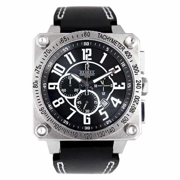 RENDEX, Big Square Chronograph, Quartz, Edelstahl_3743