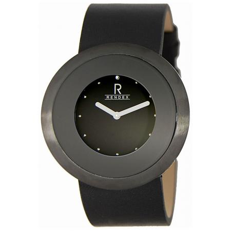 RENDEX, Art XL, Damen Quartzuhr, PVD schwarz_3754