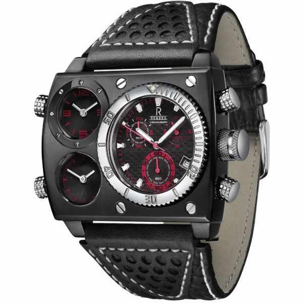 RENDEX, Multitime XXL, Dreizeitenuhr, Chrono, Quartz, Stahl schwarz_3797