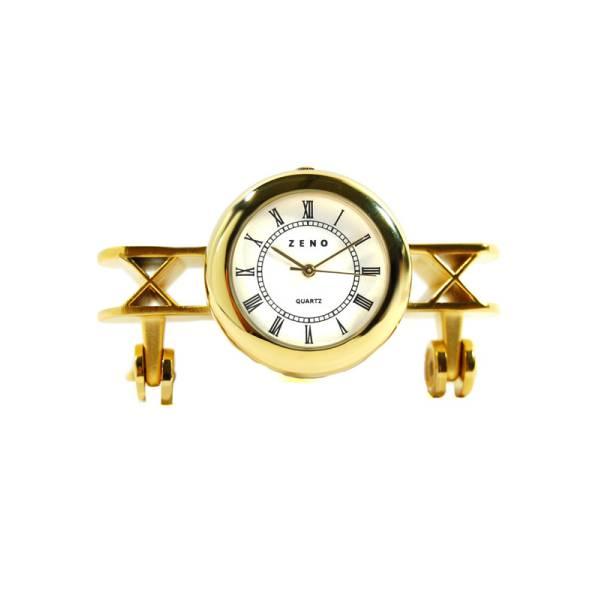 _ZENO Miniaturuhr, Flugzeug, Quartz, Tischuhr, klein, Messing_3874