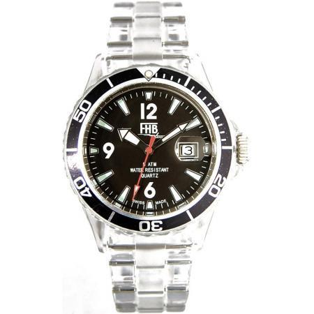 FHB, Opaque Fun Watch, Quartz Uhr mit Gliederarmband schwarz_3945