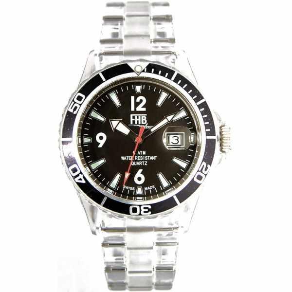 FHB Opaque Fun Watch, Quartz Uhr mit Gliederarmband schwarz_3945