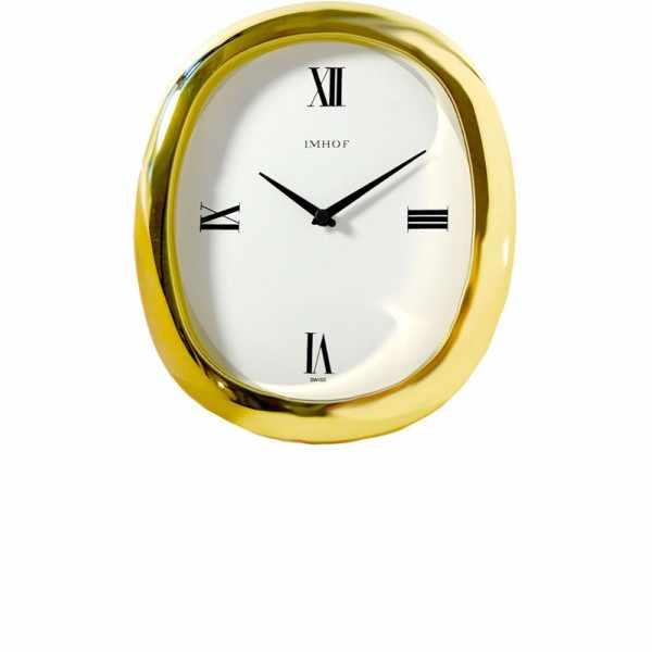 IMHOF Tischuhr Quartz, Oval vergoldet_3997