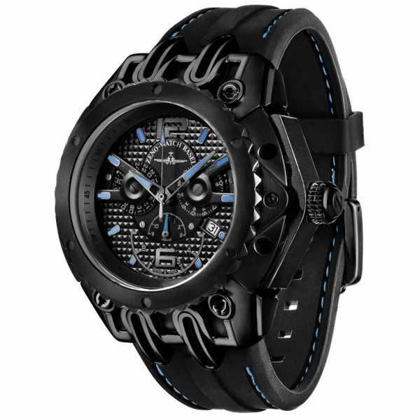 ZENO-WATCH BASEL, Chrono Quartz Futura, Edelstahl, schwarz/blau_4200