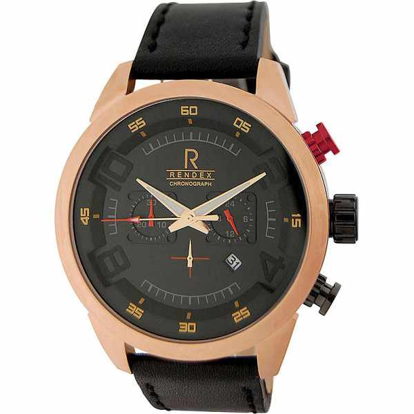 RENDEX, Design XL, Chronograph, Quartz, rosé vergoldet_4203