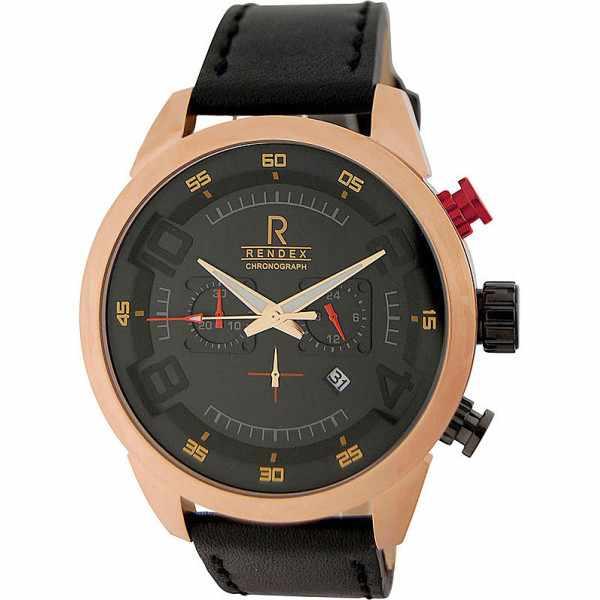 RENDEX, Design XL, Chronograph, Quartz, rosé vergoldet_4203