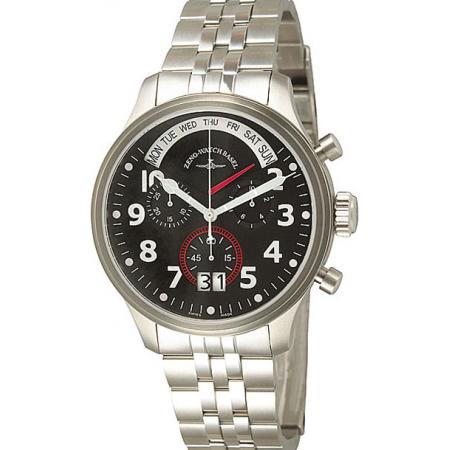 ZENO-WATCH BASEL, Pilot Oversized, XL Fliegeruhr Q, Tag Datum, Stahl