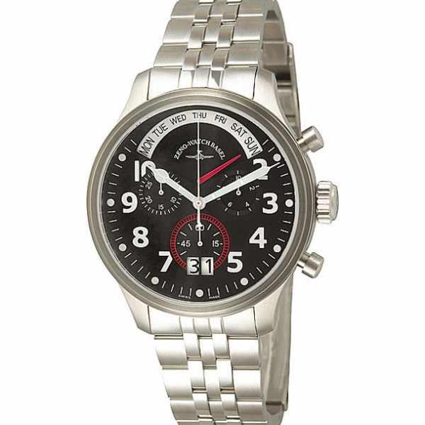 ZENO-WATCH BASEL, Pilot Oversized, XL Fliegeruhr Q, Tag Datum, Stahl_4213