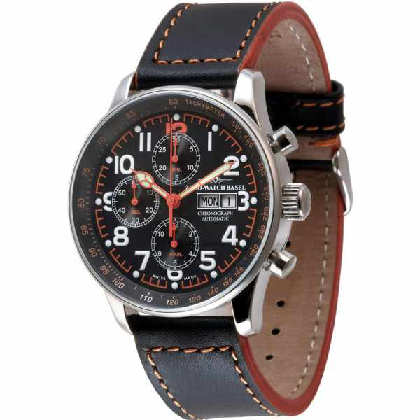 ZENO-WATCH BASEL, Pilot X-Large, Automatik Flieger Chrono schwarz_4239