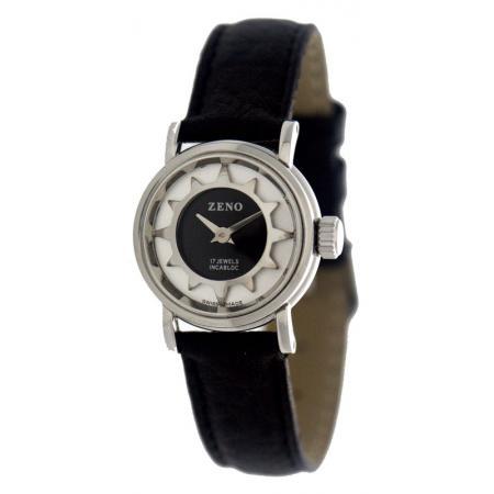 ZENO, Retro Solei, Damenuhr Handaufzug Uhr mit altem Uhrwerk, argent