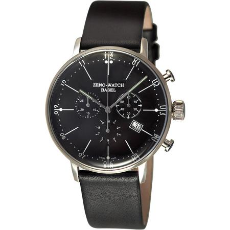 ZENO-WATCH BASEL, Bauhaus Chronograph, Quartzuhr schwarz