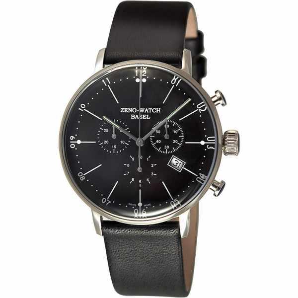 ZENO-WATCH BASEL, Bauhaus Chronograph, Quartzuhr schwarz_4248