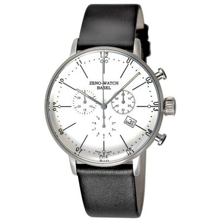 ZENO-WATCH BASEL, Bauhaus Chronograph, Quartzuhr weiss_4249