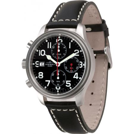 ZENO-WATCH BASEL, Pilot New Classic, XL Automatik Flieger Chrono Links