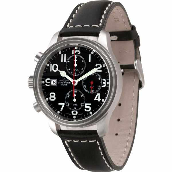ZENO-WATCH BASEL, Pilot New Classic, XL Automatik Flieger Chrono Links_4291