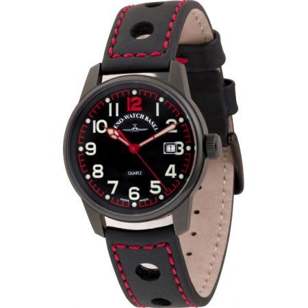 ZENO-WATCH BASEL, Pilot Classic, Fliegeruhr schwarz/rot