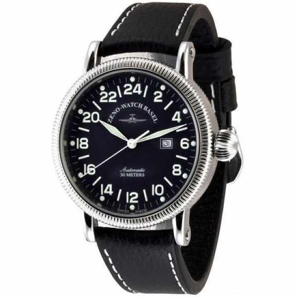 ZENO-WATCH BASEL, Nostalgia Pilot, XL Automatik, 24 Stundenanzeige_4293