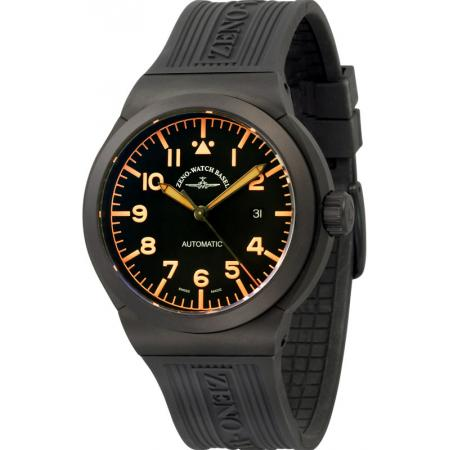 ZENO-WATCH BASEL, Pilot Raid N, Automatikuhr XL Titan schwarz/orange