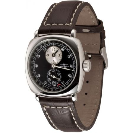 ZENO-WATCH BASEL, Retro Regulator, Handaufzuguhr Zeigerdatum, schwarz_4306