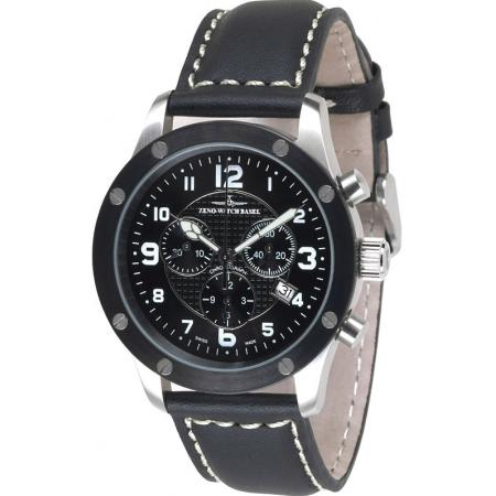 ZENO-WATCH BASEL, Pilot  Precision, Quartz Chrono, schwarz