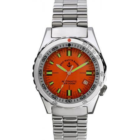 ZENO, Army Diver Automatik, Retro Taucheruhr 300m, orange_4309