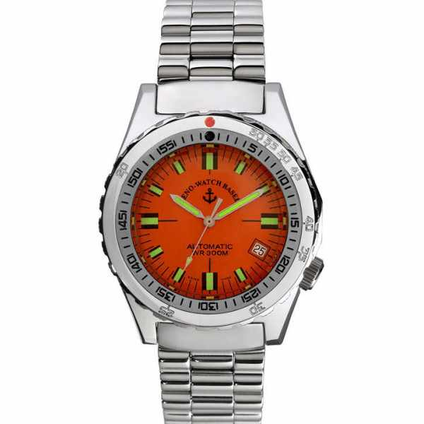 ZENO Army Diver Automatik, Retro Taucheruhr 300m, orange_4309