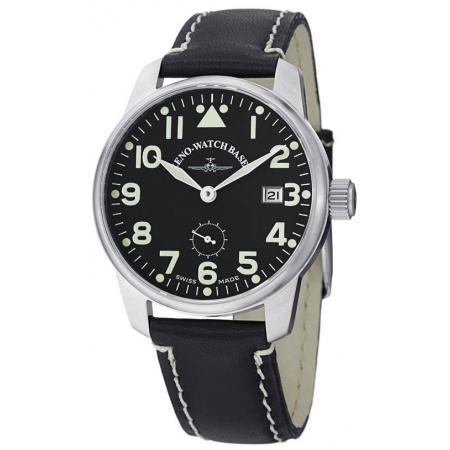 ZENO-WATCH BASEL, Pilot Classic, Handaufzug Fliegeruhr Wehrmachts Werk Datum_4427