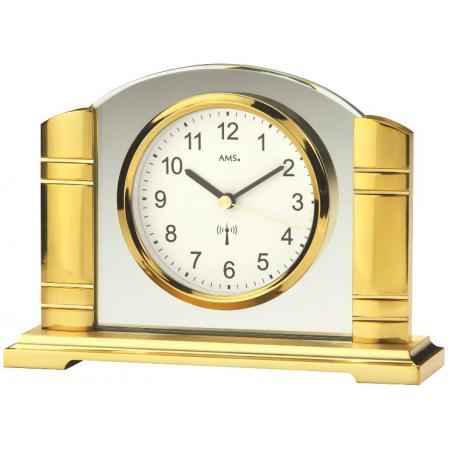AMS, Art Deco Funk Tischuhr gold mit Glaseinsatz